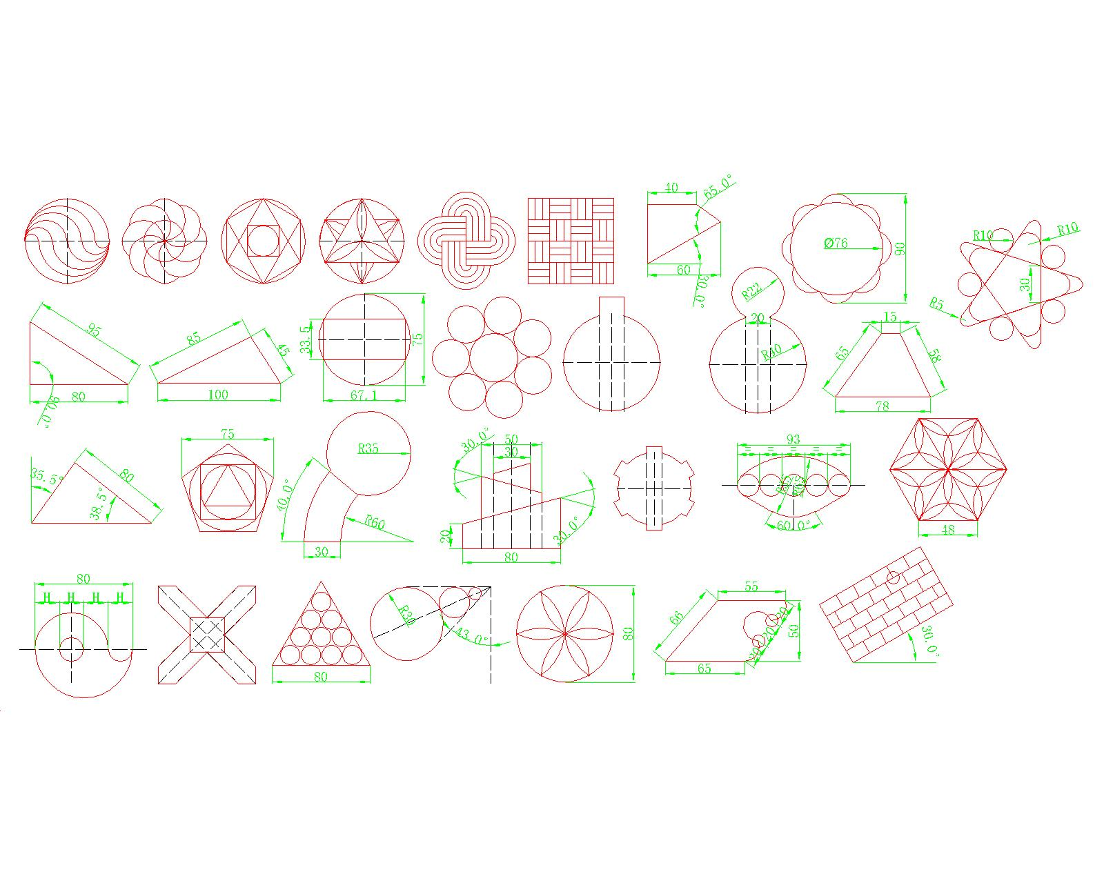 CAD园地练习题集~40张[51打印网黑白]cadole基础自学图片
