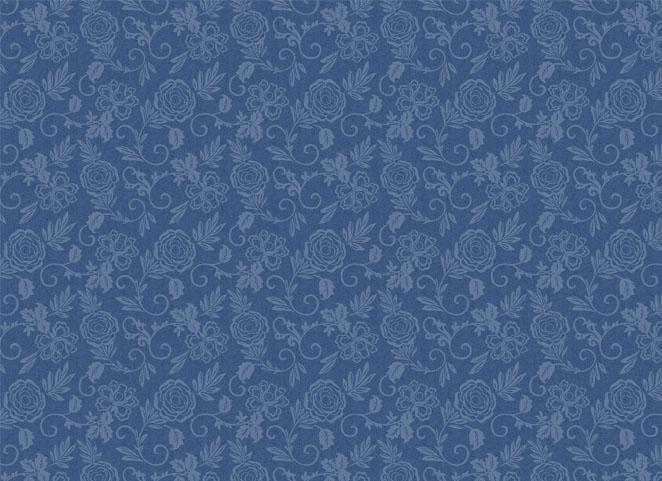 蓝色欧式花纹墙纸贴图