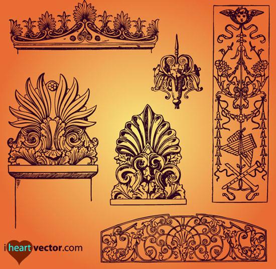 传统窗花花纹图木头