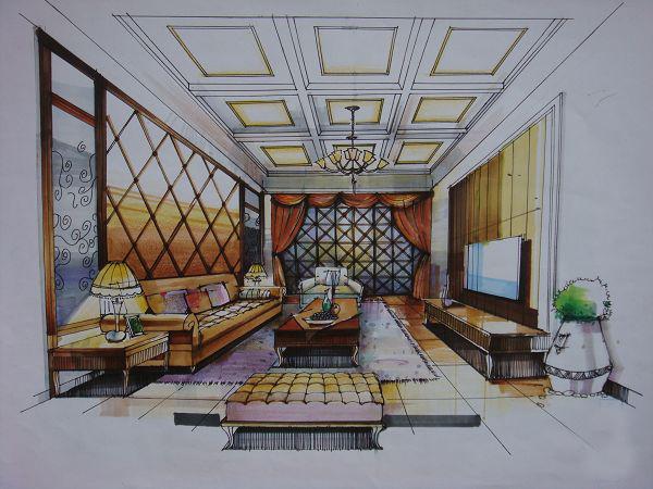 两点透视欧式客厅图片
