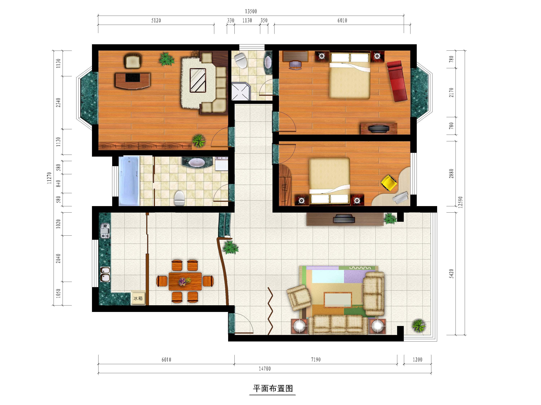 室内彩色平面图素材