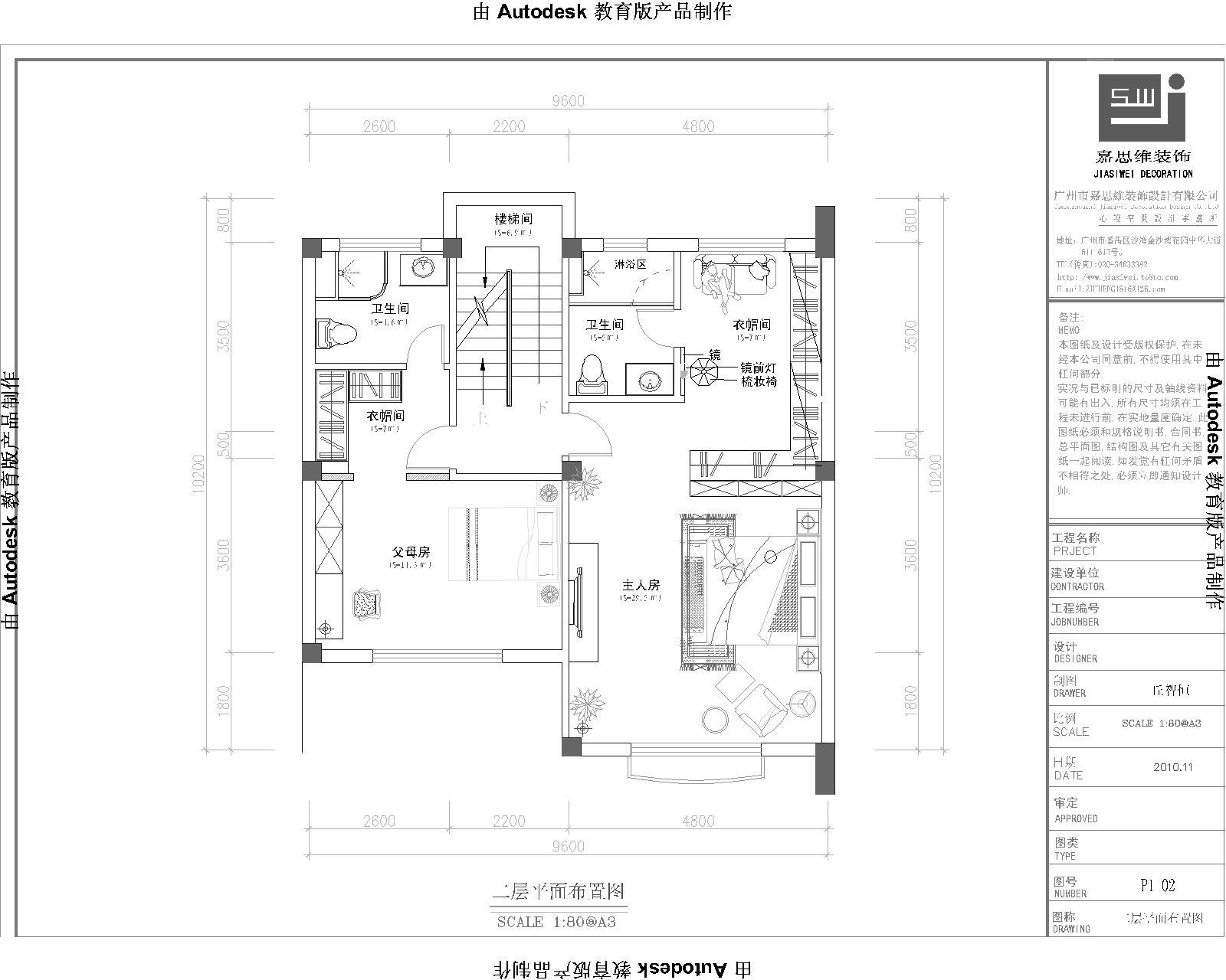 一套欧式别墅的室内平面布置图