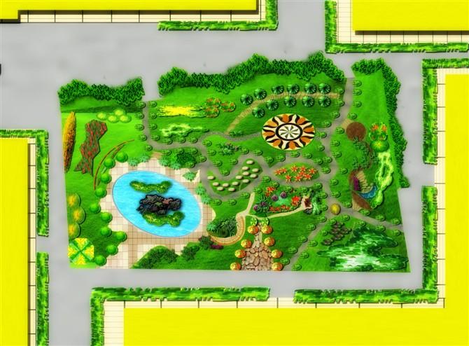 小游园局部手绘效果图内容小游园局部手绘效果图