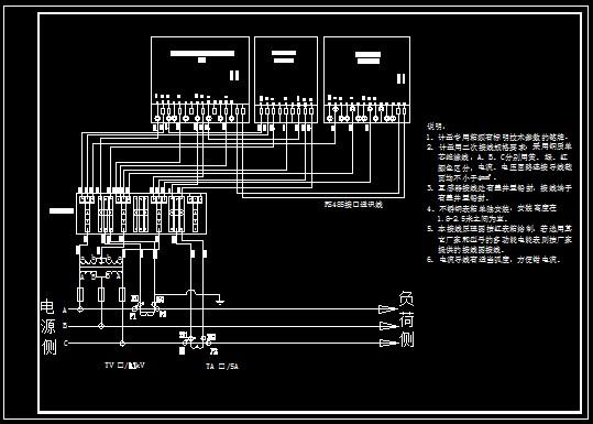 cad(高压多功能电能表三相三线接线图)【已奖励】