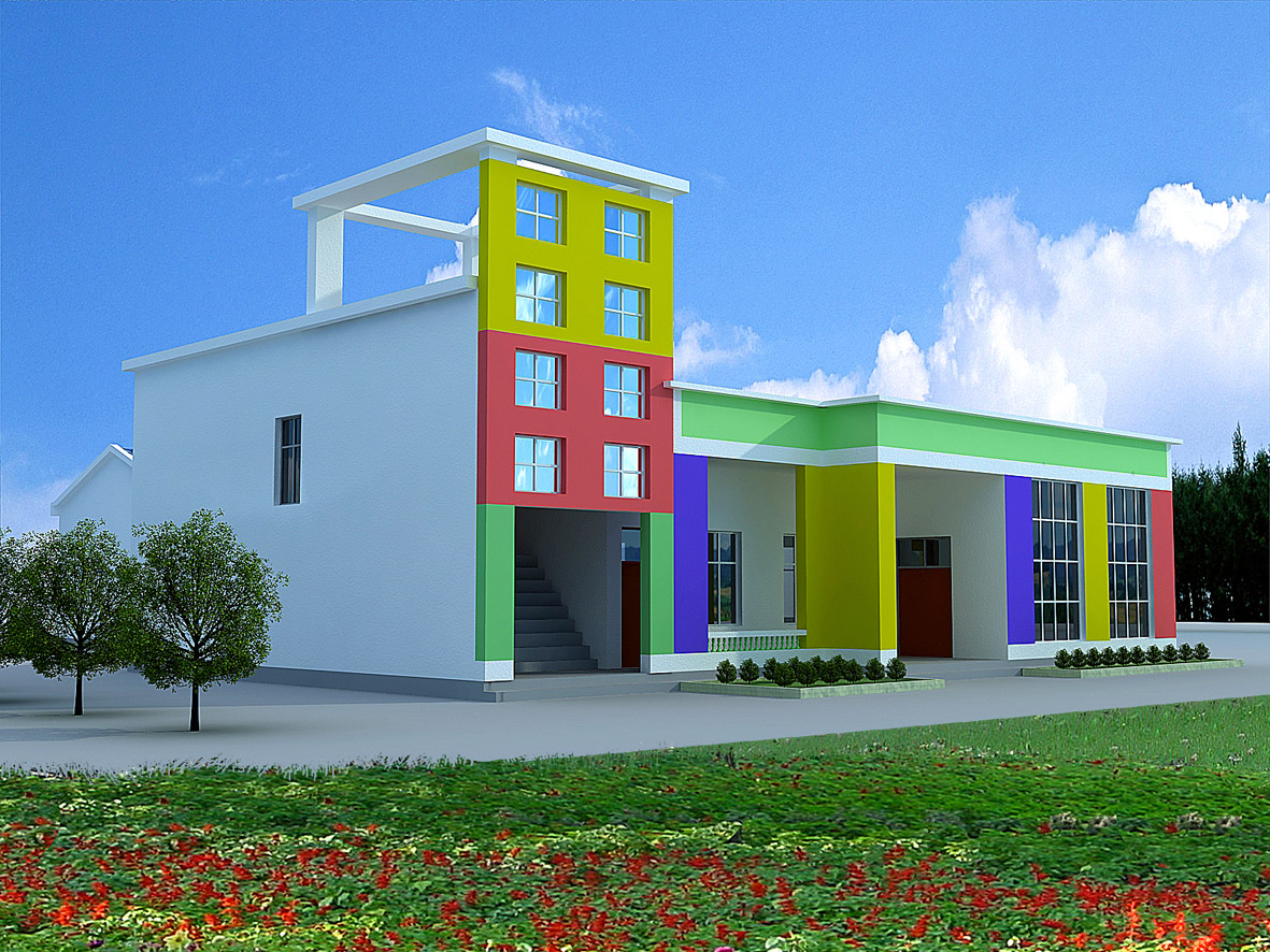 农村幼儿园外观图及小学校园规划