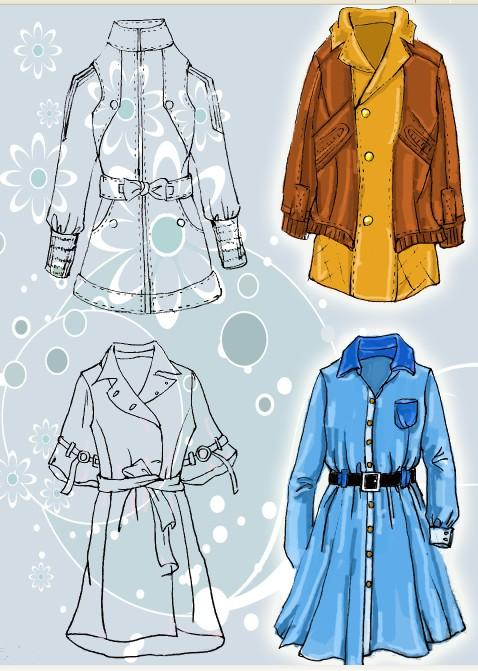 服装设计图 铅笔画中学生展示
