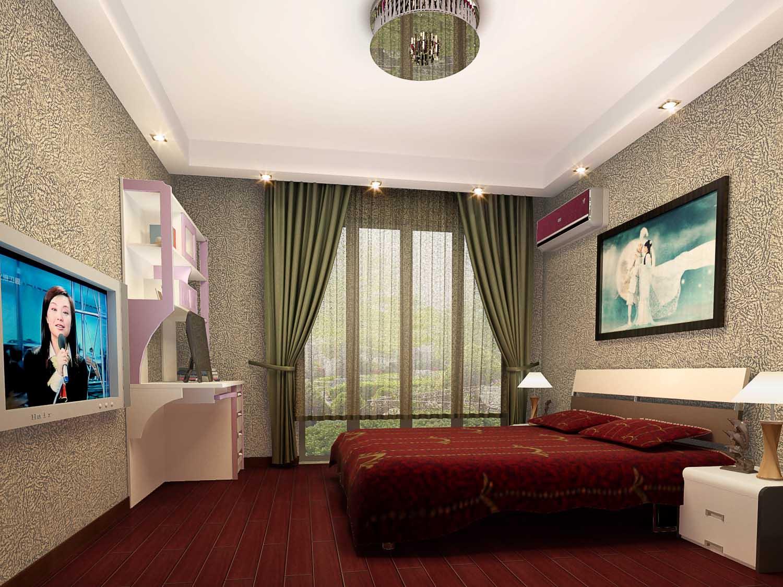 靠落地窗口的欧式卧室装修效果图