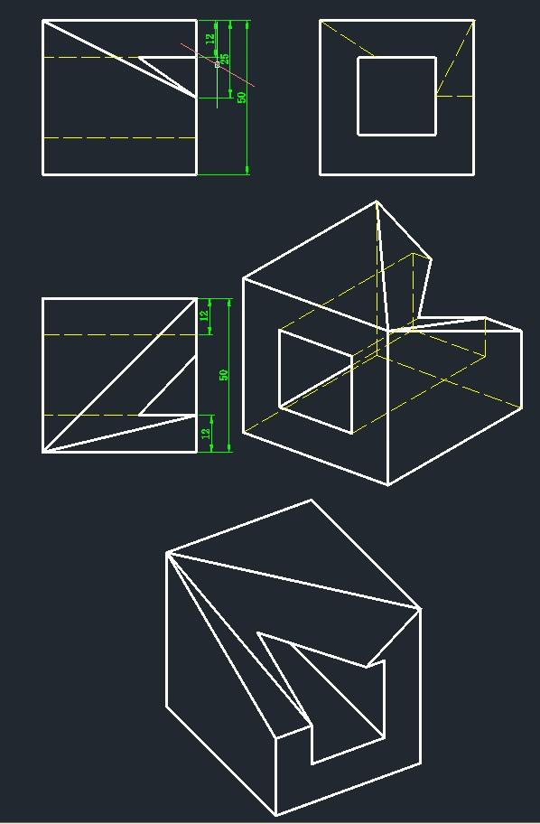 AutoCAD机械设计-补画三视图4(自学)[51自学如何网页设计有奖图片