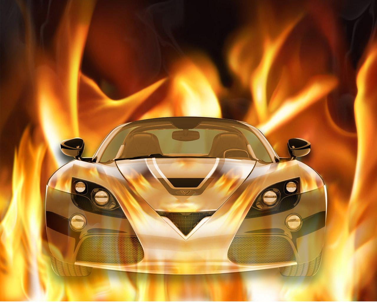 火焰效果的汽车