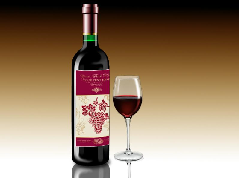 手绘红酒瓶及杯子系列
