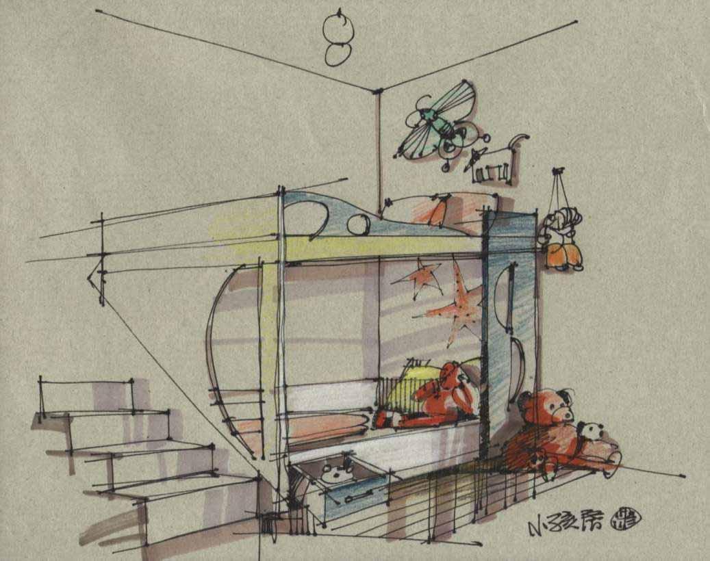 室内设计手绘图; 儿童房室内手绘图儿童房手绘图室内