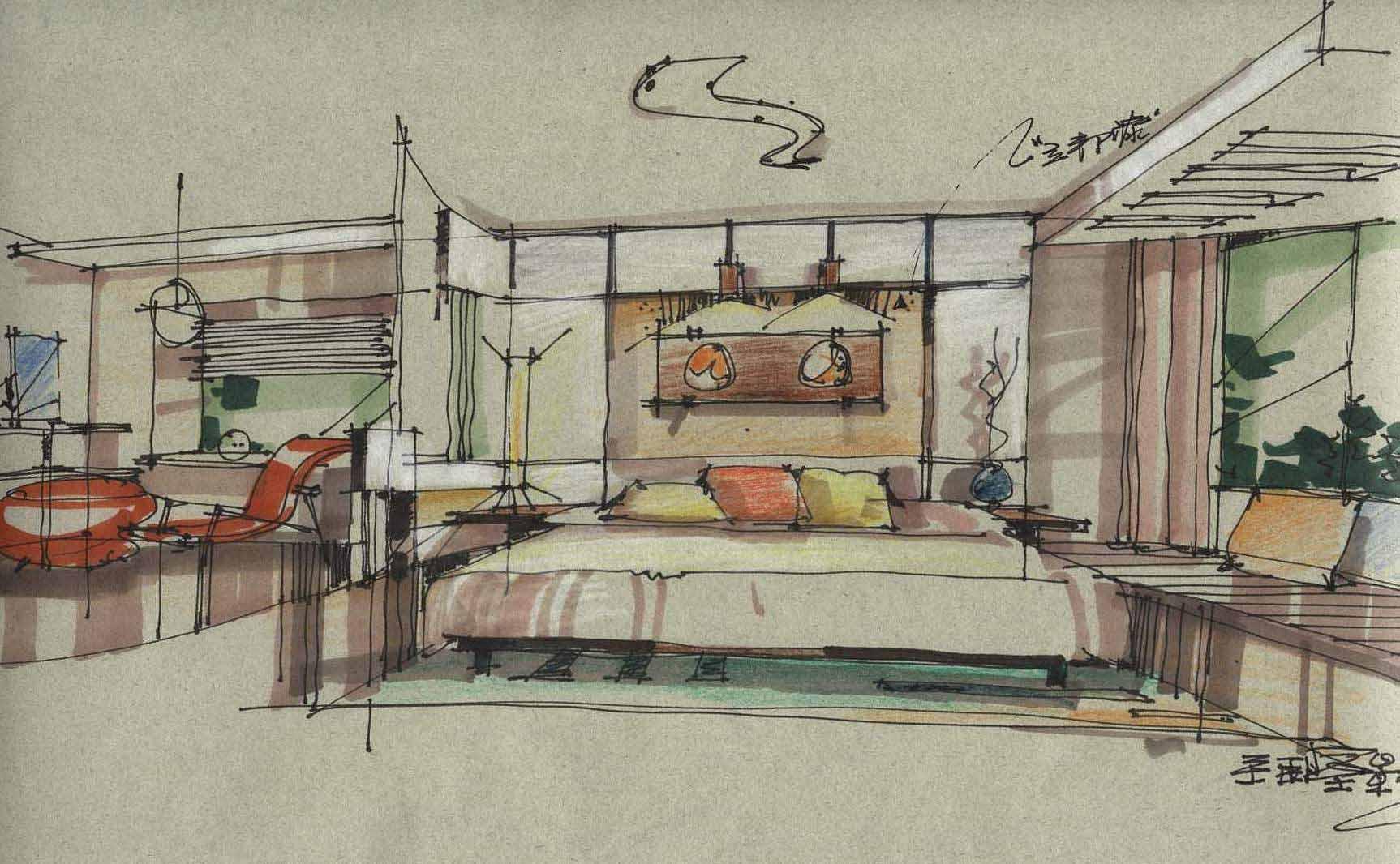 室内设计手绘图(卧室)[51自学网园地]