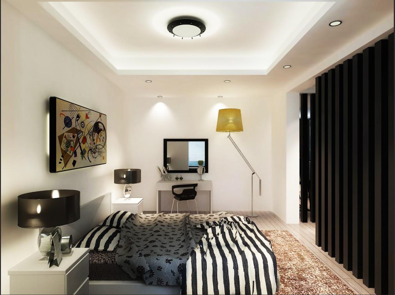 黑白风卧室设计图