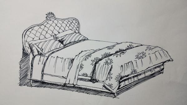 简单床手绘图片