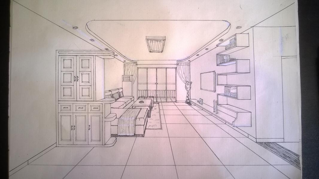 酒店大厅手绘透视图