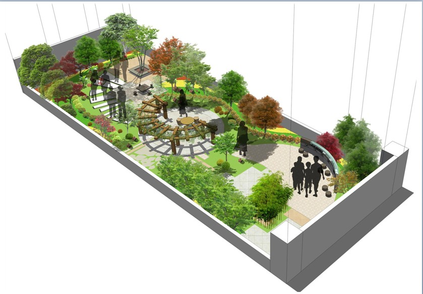 别墅屋顶花园平面设计实景图 装信通网效果图