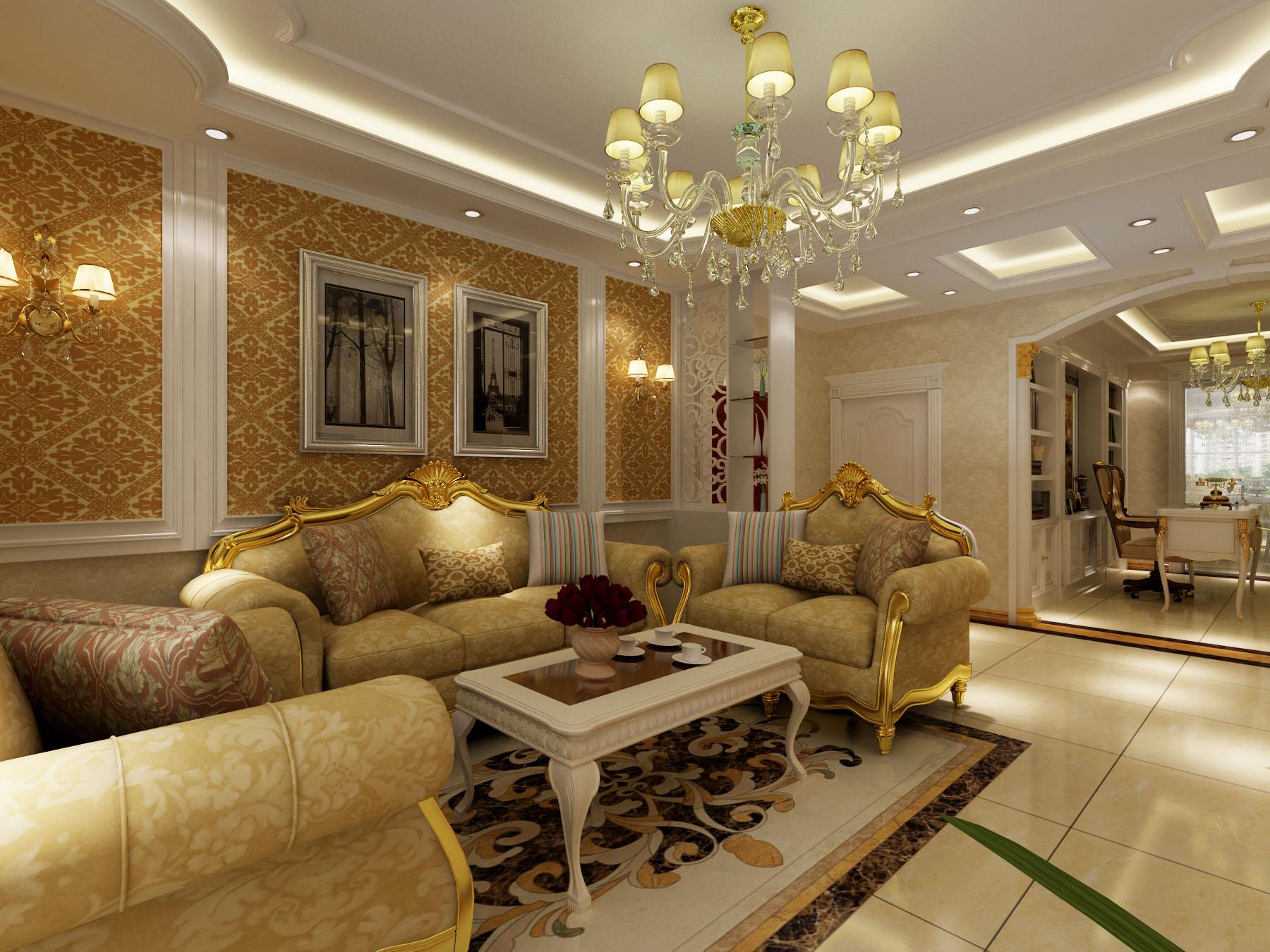 欧式客厅沙发背景