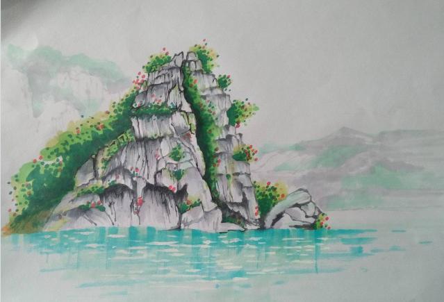 用马克笔画山水画