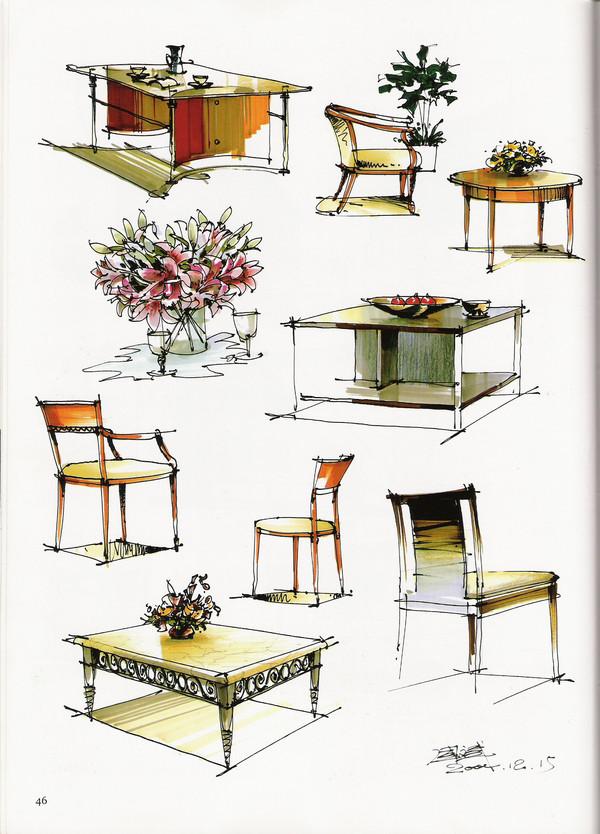 手绘单体家具线稿-室内家具单体手绘线稿|手绘欧式家具|室内设计手绘