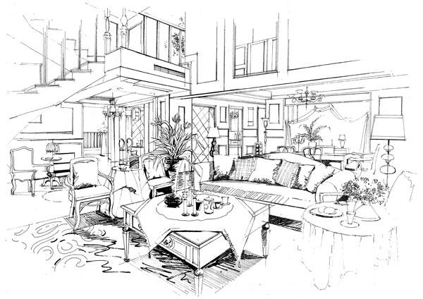 家具手绘线稿透视图