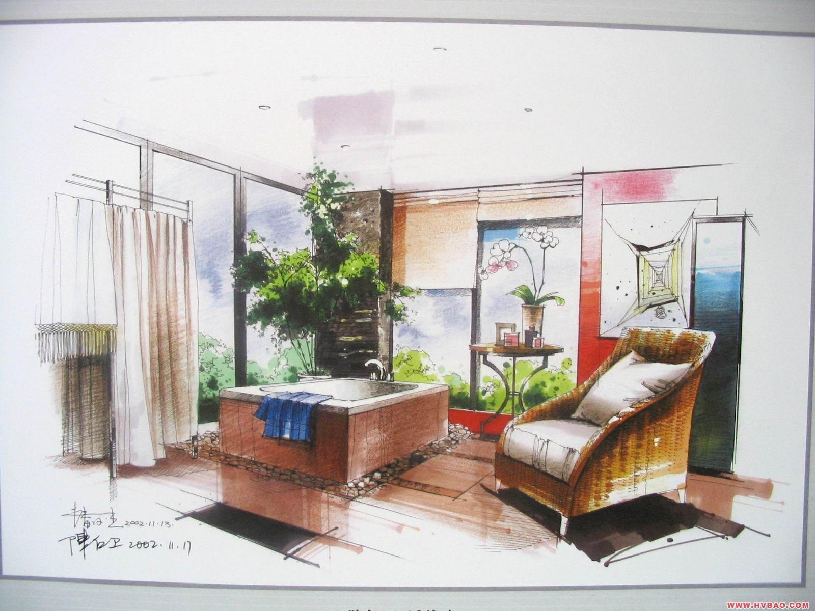 两点透视欧式室内手绘图