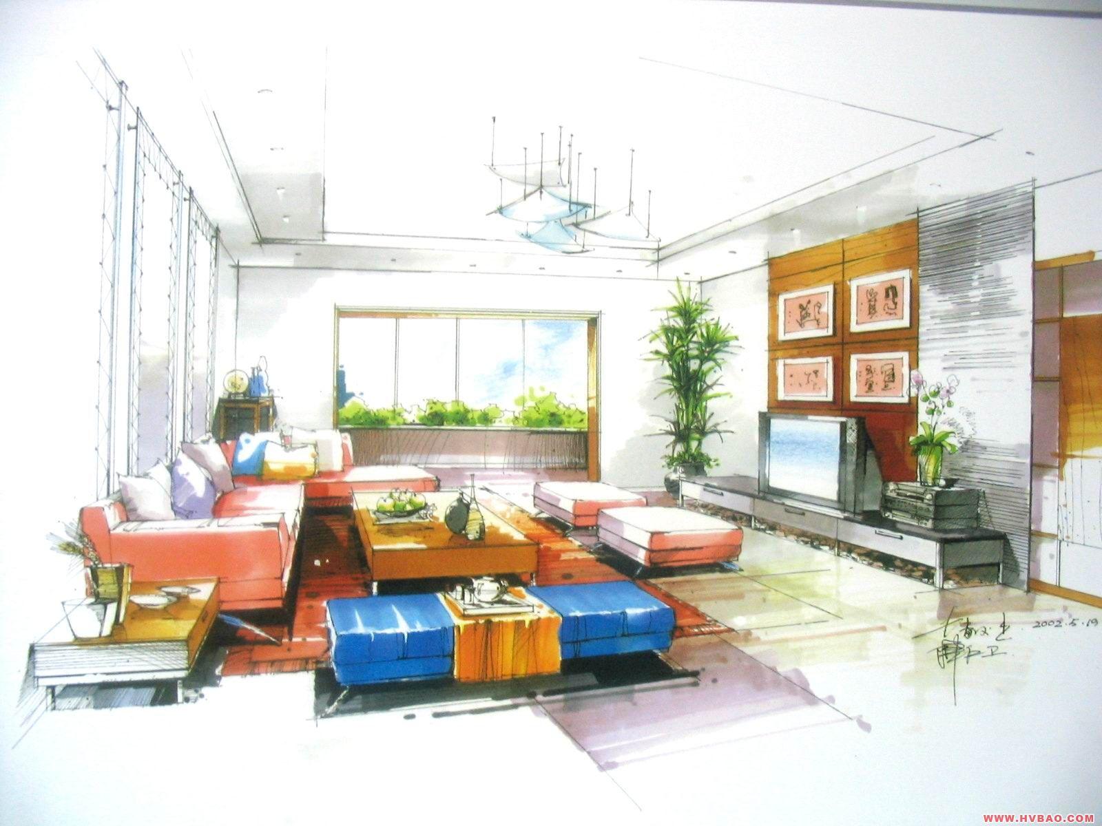 室内设计花卉马克笔手绘图