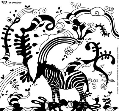 T Y设计团队黑白插画
