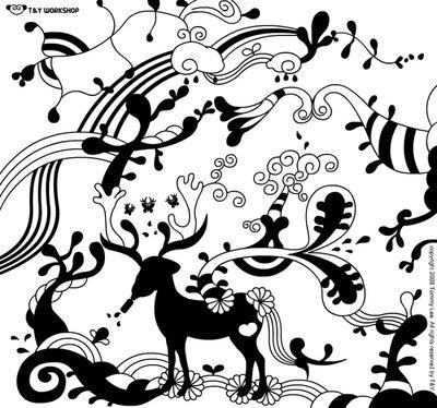 黑白手绘小清新插画 森林