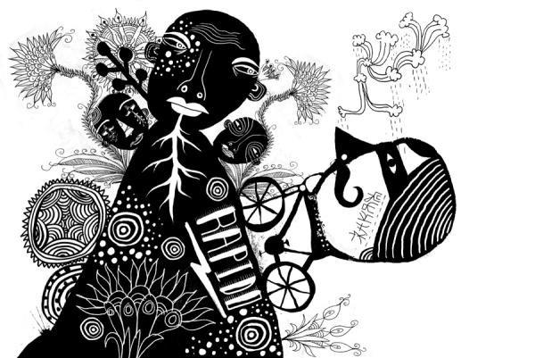 欧美涂鸦式黑白系插画