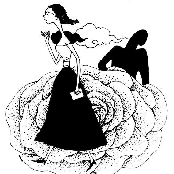 国内设计知止的黑白插画作品
